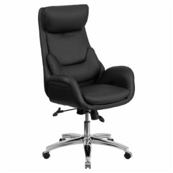 Flash Furniture High Back Leather Executive Swivel Office Chair with Lumbar Pillow