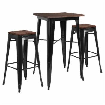 Flash Furniture 3 Piece 26 in. Square Bar Table Set with Backless Stools