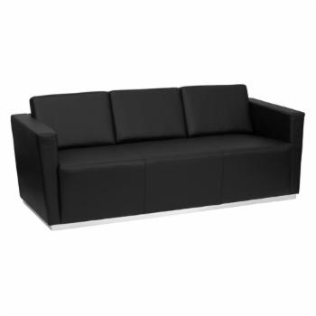 Flash Furniture Hercules Trinity Series Leather Sofa with Stainless Steel Base - Black