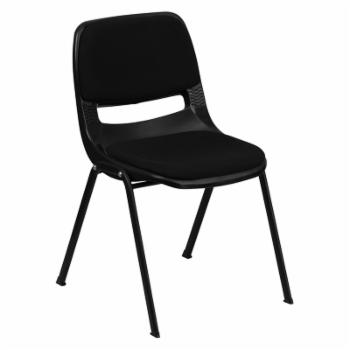 Hercules Series Ergonomic Shell Stack Chair with Padded Seat and Back - Black