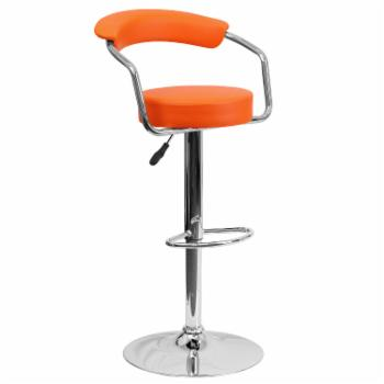 Flash Furniture Contemporary Adjustable Vinyl Bar Stool with Chrome Arms & Base