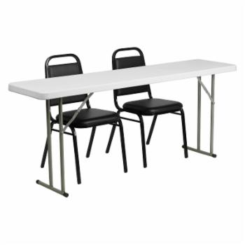 Flash Furniture RB-1872-2 18 x 72 in. Rectangle Folding Training Table with 2 Trapezoidal Back Stack Chairs