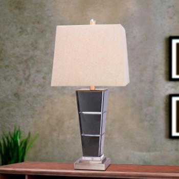 m.r. Lamp & Shade W-5127 27.75 in. Metal and Glass Table Lamp - Brushed Steel