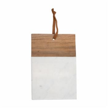 Foreside Home and Garden Mango Wood and Marble Rectangle Cutting Board