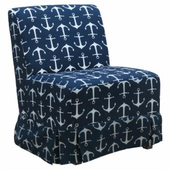 Fox Hill Skirted Penelope Armless Slipper Chair - Anchor Print