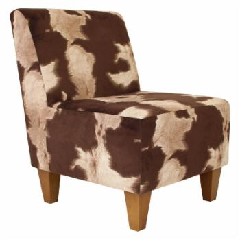 Fox Hill Penelope Cow Hide Print Armless Slipper Chair