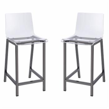 Fox Hill Trading 33 in. Acrylic Counter Stool - Set of 2