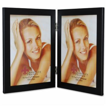 Lawrence Frames Black Metal Double Hinged 5x7 Picture Frame