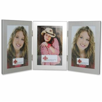 Lawrence Frames Brushed Silver Triple Hinged Picture Frame
