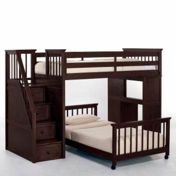 NE Kids Schoolhouse Stairway Loft Bed - Chocolate