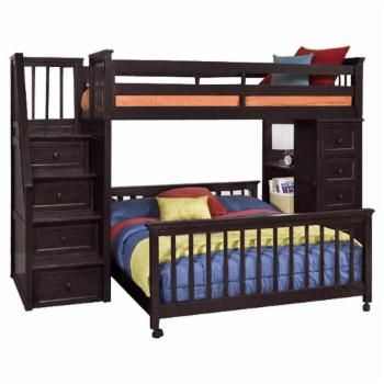 NE Kids Schoolhouse Stairway Loft Bed with Chest End - Chocolate