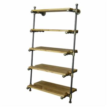 Furniture Pipeline Orlando Farmhouse Industrial Leaning Bookcase