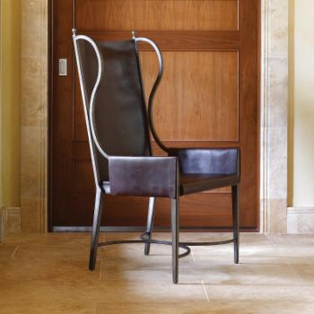 Studio A Home Iron/Leather Wingback Dining Chair