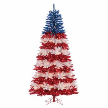 Sterling Tree Company American Patriotic Full Pre-lit Christmas Tree