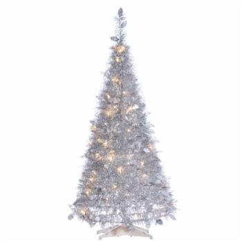 Sterling Tree Company 4 ft. Tinsel Slim Pre Lit Christmas Tree with Holly Leaves