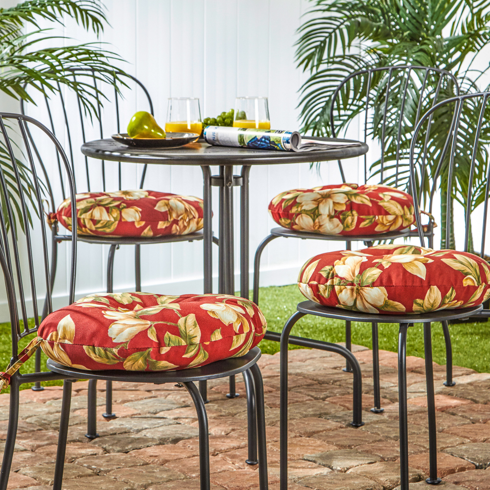 Greendale Home Fashions 15 In. Round Outdoor Bistro Chair Cushion   Set Of  4