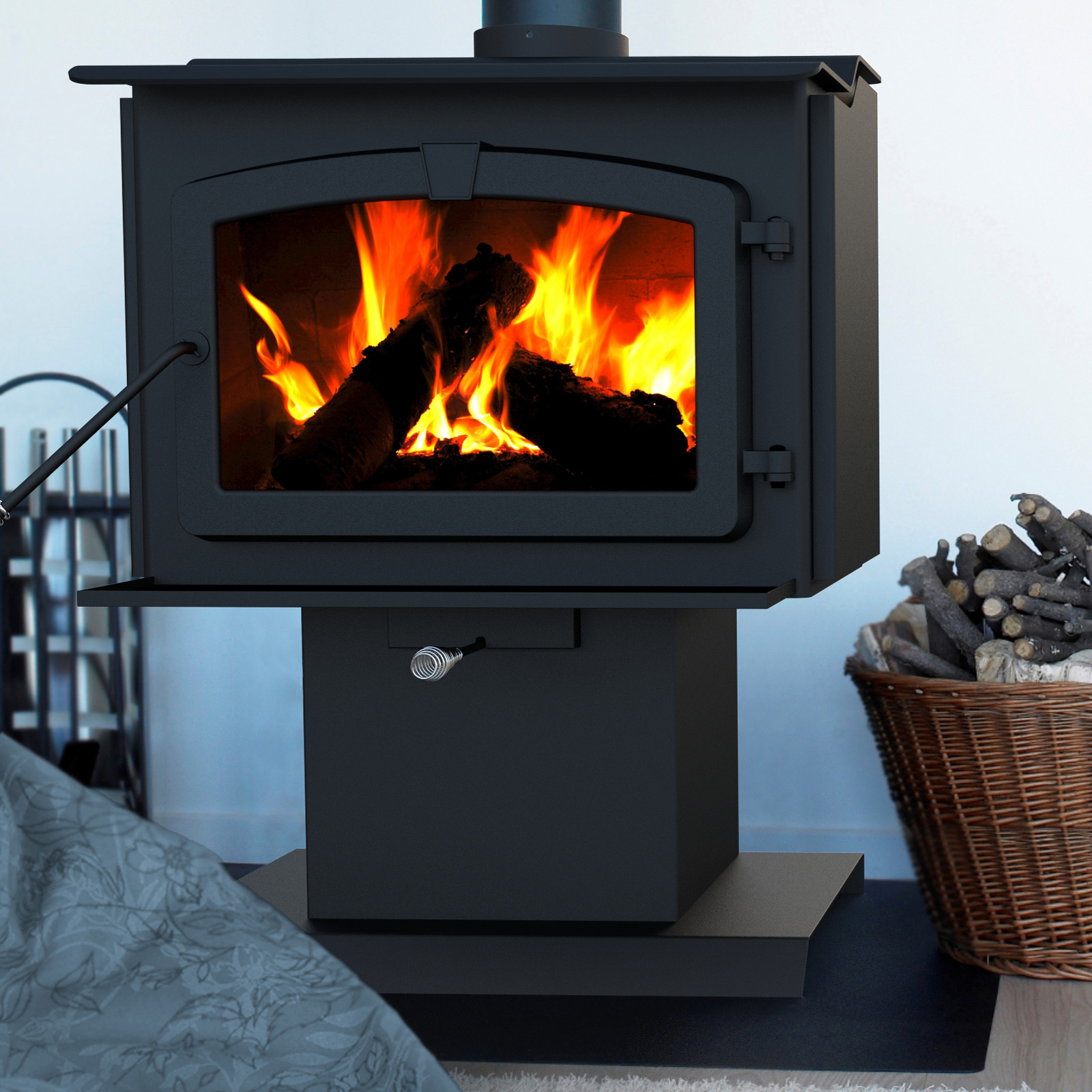stove pedestal w stoves black epa c napoleon fireplace timberwolf small burning economizer door painted woodburning wood