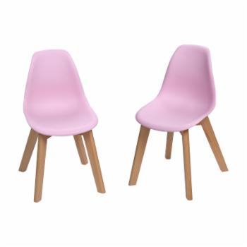 Gift Mark Mid-Century Modern Kids Chair - Pink - Set of 2