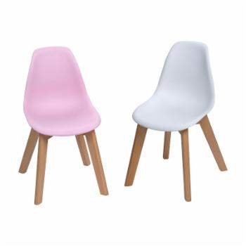 Gift Mark Mid-Century Modern Kids Chair - Pink/White - Set of 2