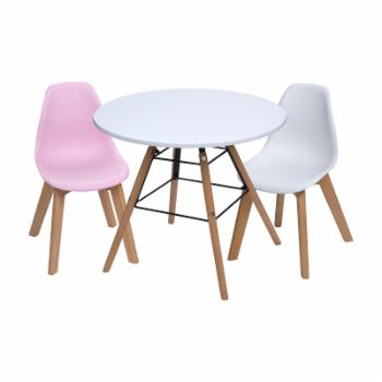Gift Mark Mid-Century Modern Round Kids Table with Pink/White Chairs