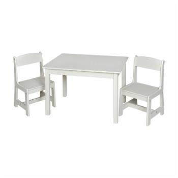 Gift Mark Contemporary Rectangle Table and Chair Set - White