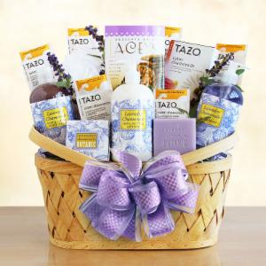 Spa gift baskets for special occasions hayneedle luxurious lavender retreat spa basket gift basket solutioingenieria Choice Image