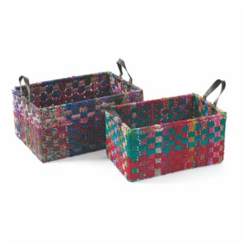 Hip Vintage Rectangle Woven Fabric Decorative Basket - Set of 2