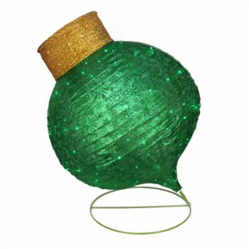 Northlight LED Lighted Twinkling Green Glitter Onion Ornament Christmas Light Figurine