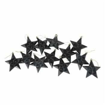 DAK 5 in. Matte and Glittered Star Ornament Set - Set of 12