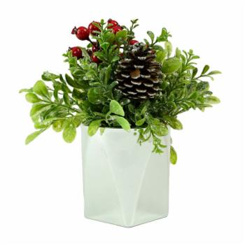 Northlight 8 in. Potted Artificial Boxwood and Berries Christmas Arrangement