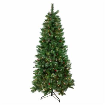 Northlight 7.5 ft. Pre-Lit Glittered Mixed Pine Medium Artificial Christmas Tree