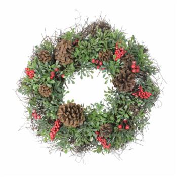 Northlight 24 in. Unlit Glittered Artificial Boxwood and Red Berry Christmas Wreath