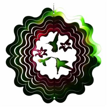 Great World 12 in. Hummingbird Zephyr Spiral Wind Spinner