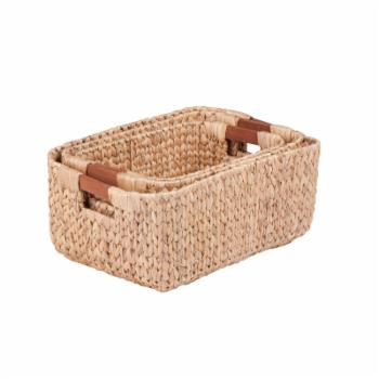 Honey Can Do Rectangular Baskets with Wood Handles - Set of 3