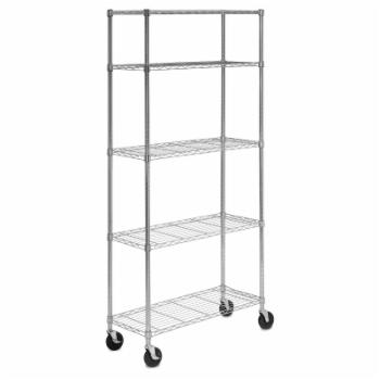 Honey Can Do 5 Tier Chrome Shelving Unit with Casters