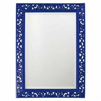 Elizabeth Austin Rectangle Bristol Glossy Royal Blue Mirror - 26W x 35H in.