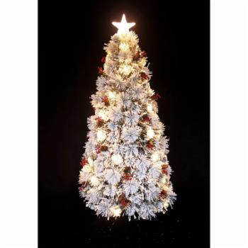 Hi-Line Gift Ltd. Fiber Optic Snow Christmas Tree with Cones and Berries