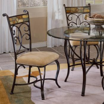 Hillsdale Pompei Dining Chair - Set of 2 - Black Gold & Slate Mosaic