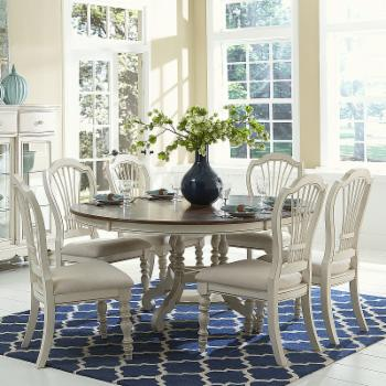 Hillsdale Pine Island 7 Piece Round Extension Dining Set with Wheat Back Chairs