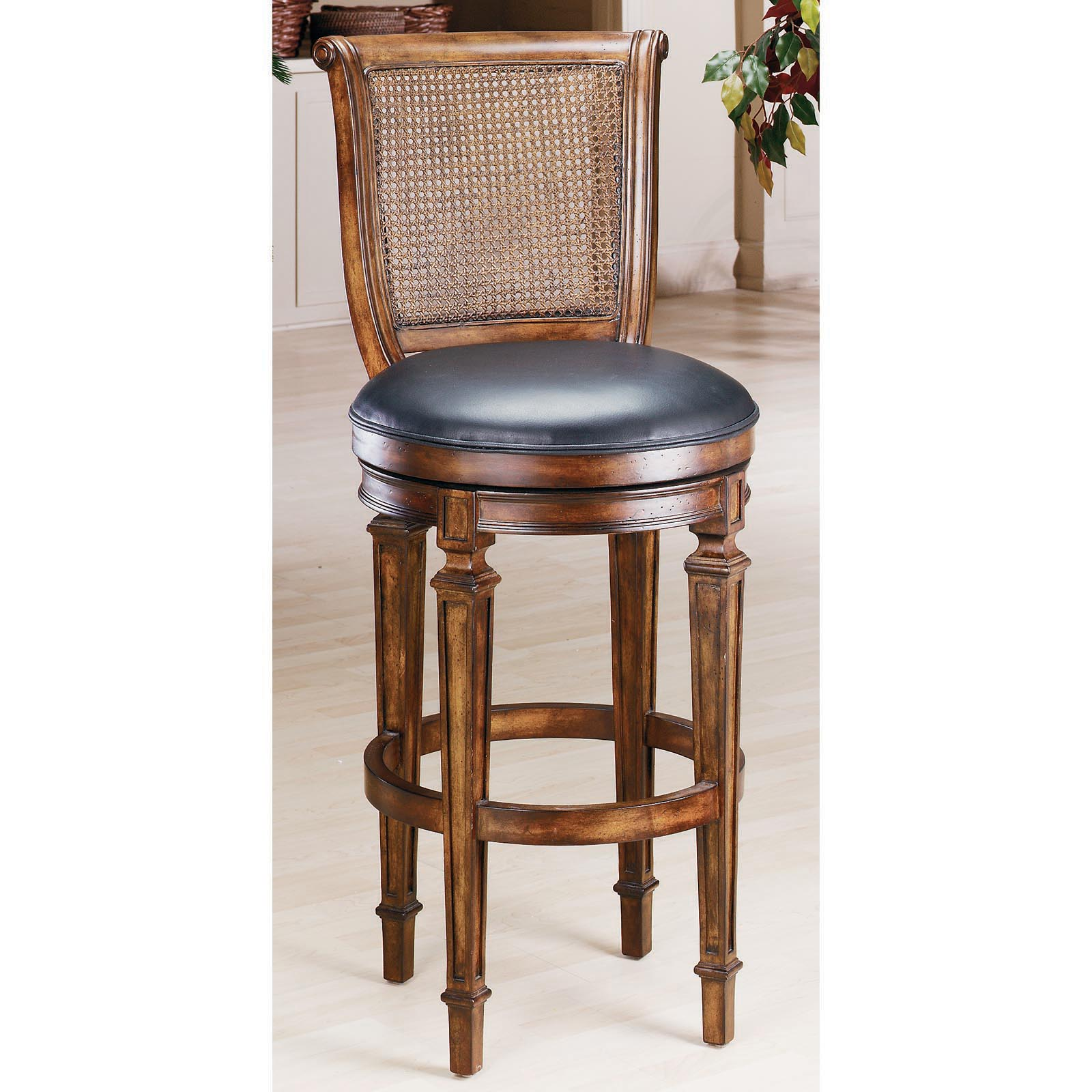 Cane Back Swivel Counter Stool | Hayneedle  sc 1 st  Hayneedle : wood counter stools with backs - islam-shia.org