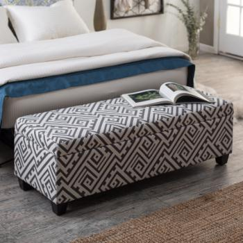 angelo:HOME Kent Bench Ottoman - Smoky Gray Maze