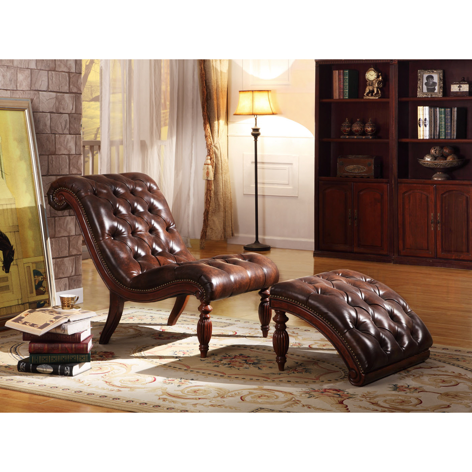 Weston Home Bonded Leather Button Tufted Chaise and Ottoman Warm