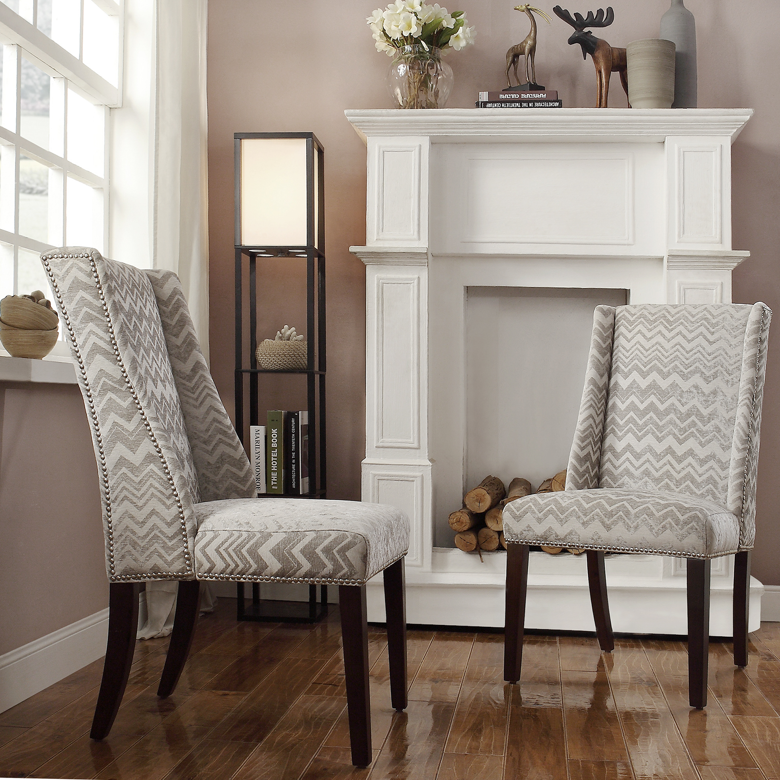 Chelsea Lane Gray Chevron Print Fabric Wingback with Nailhead Accent Chair  - Set of 2 | Hayneedle