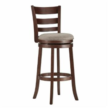 Weston Home Edmond Collection 29H in. Swivel Bar Height Stool - Ladder Back Design