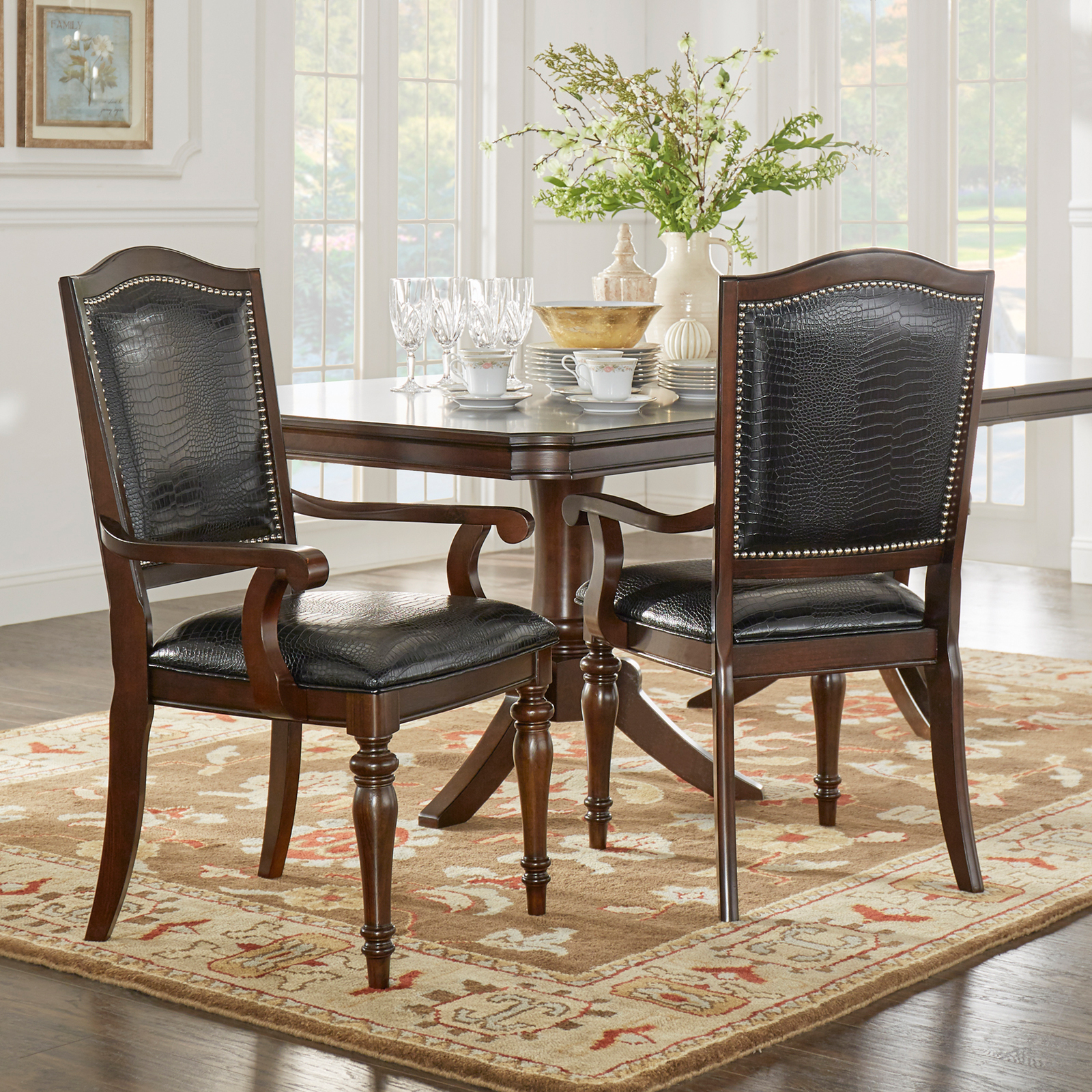 Weston Home Marston Alligator Faux Leather Nailhead Dining Side Chair   Set  Of 2 | Hayneedle
