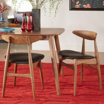Chelsea Lane Mid Century Modern Faux Leather Dining Side Chairs - Set of 2