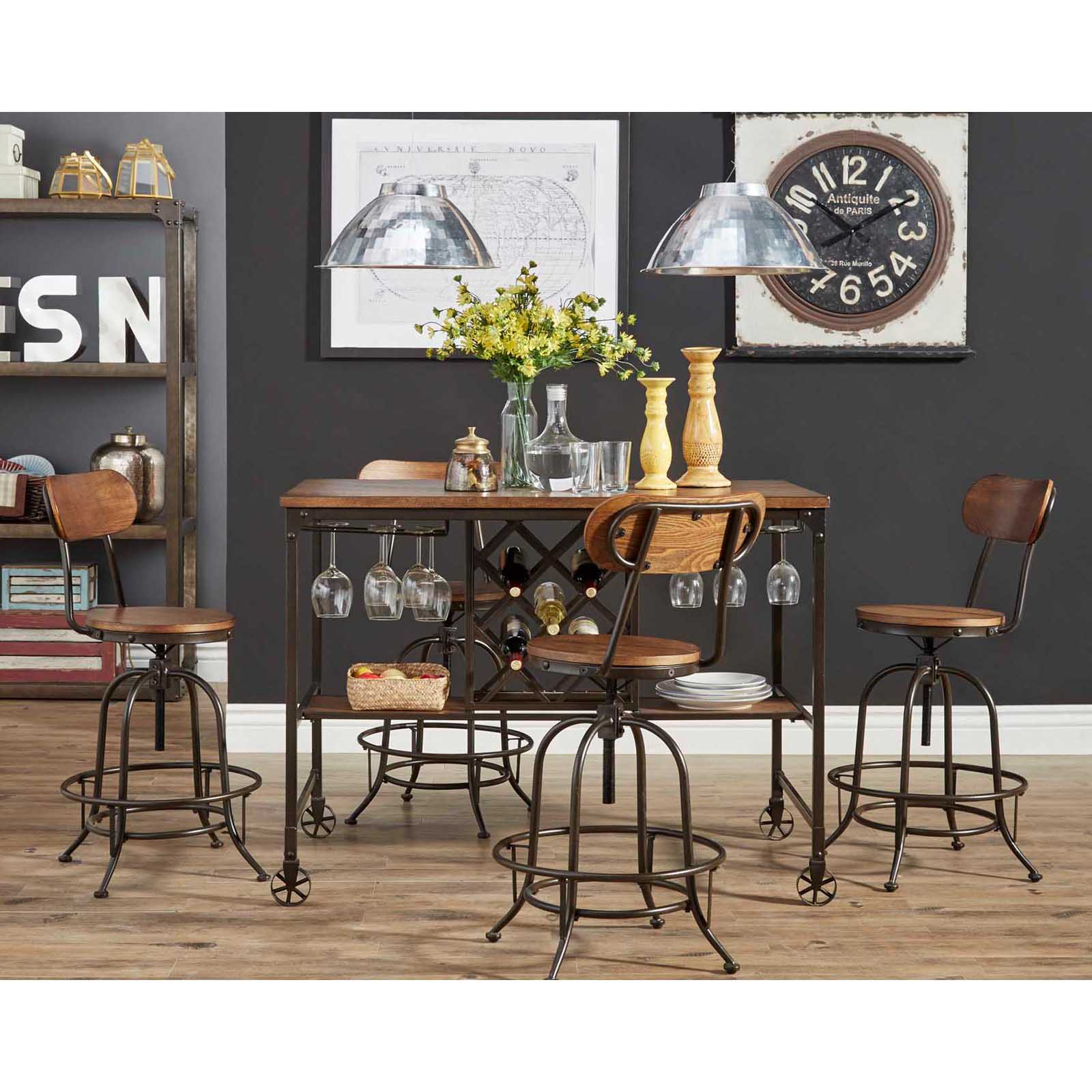 Weston Home Clayton 5 Piece Counter Height Dining Set With Adjustable  Swivel Stools