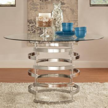 Weston Home 48 in. Dining Table with Modern Openwork Metal Base