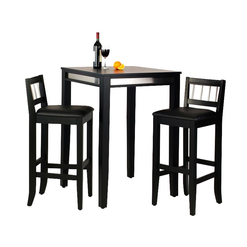 Home Styles Manhattan Black Pub Table Set with Stainless Steel Apron ...