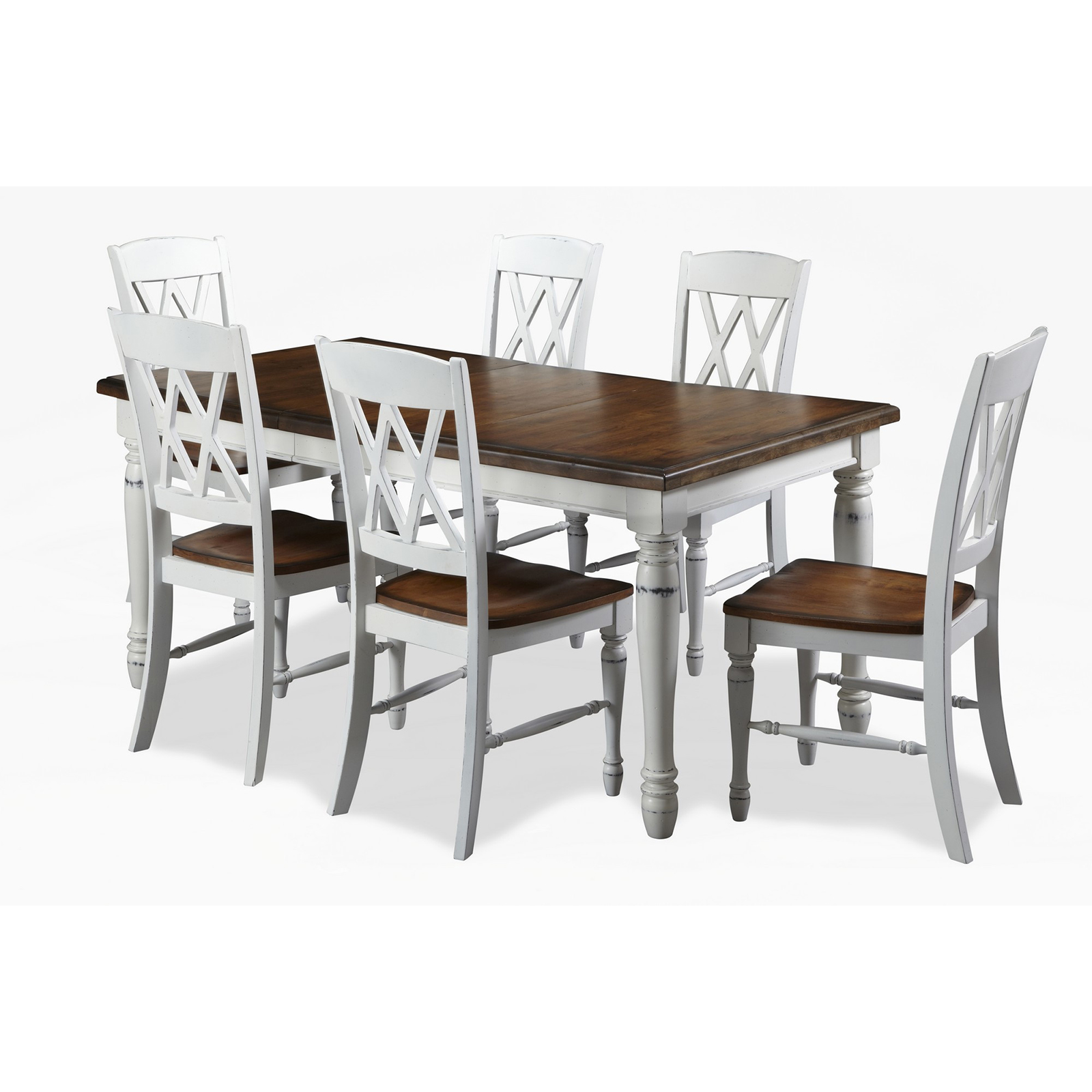 Home Styles Monarch 7 Piece Dining Table Set With 6 Double X Back Chairs